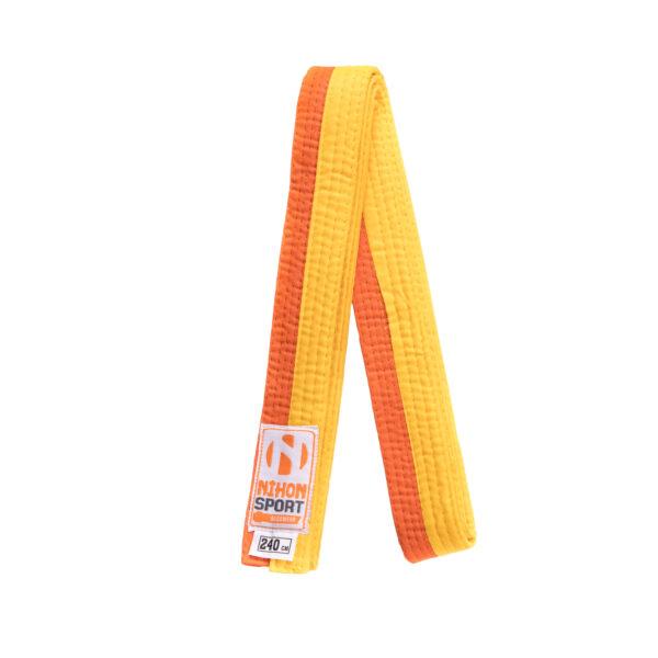 Tweekleurige judo- en karatebanden Nihon   geel-oranje   260