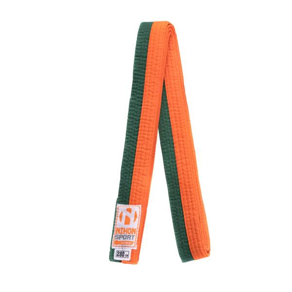 Tweekleurige judo- en karatebanden Nihon   oranje-groen  240