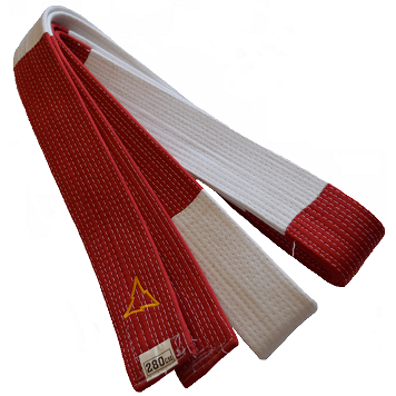 red-white judo belt for 6th dan Nihon | extra solid